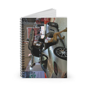 GREAT CHINA COLLECTION: Spiral Notebook - Made in USA in 3 days - Ruled Line -Woman posing near car at Chengdu Motor Show - Yunque Store