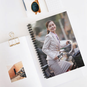 GREAT CHINA COLLECTION: Spiral Notebook - Made in USA in 3 days - Ruled Line - Young Business Woman commuting with a Bicycle, Beijing, China - Yunque Store