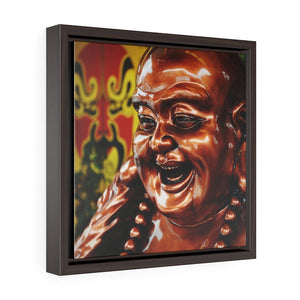 GREAT CHINA COLLECTION - Square Framed Premium Gallery Wrap Canvas - Bronze Coloured Budai Statue at a Taoist Shrine - Budai is Commonly Known as the Laughing Buddha - Yunque Store