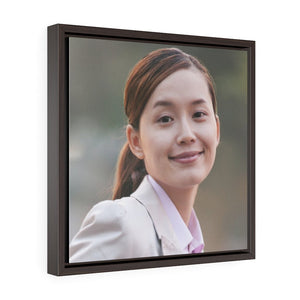GREAT CHINA COLLECTION - Square Framed Premium Gallery Wrap Canvas - Young Business Woman (CLOSEUP) commuting with a Bicycle - Yunque Store