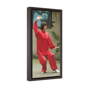 GREAT CHINA COLLECTION - Vertical Framed Premium Gallery Wrap Canvas - Chinese woman executes a kind of traditional Chinese shadow boxing (Tai Chi Chuan) in Chong Qing China - Yunque Store