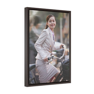 GREAT CHINA COLLECTION - Vertical Framed Premium Gallery Wrap Canvas - Young Business Woman commuting with a Bicycle, Beijing, China - Yunque Store