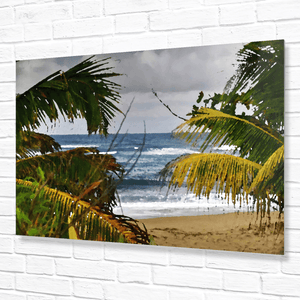 Hau Beach Wooden Walk Ocean View - in Isabela Puerto Rico - Converted to Painting - Yunque Store