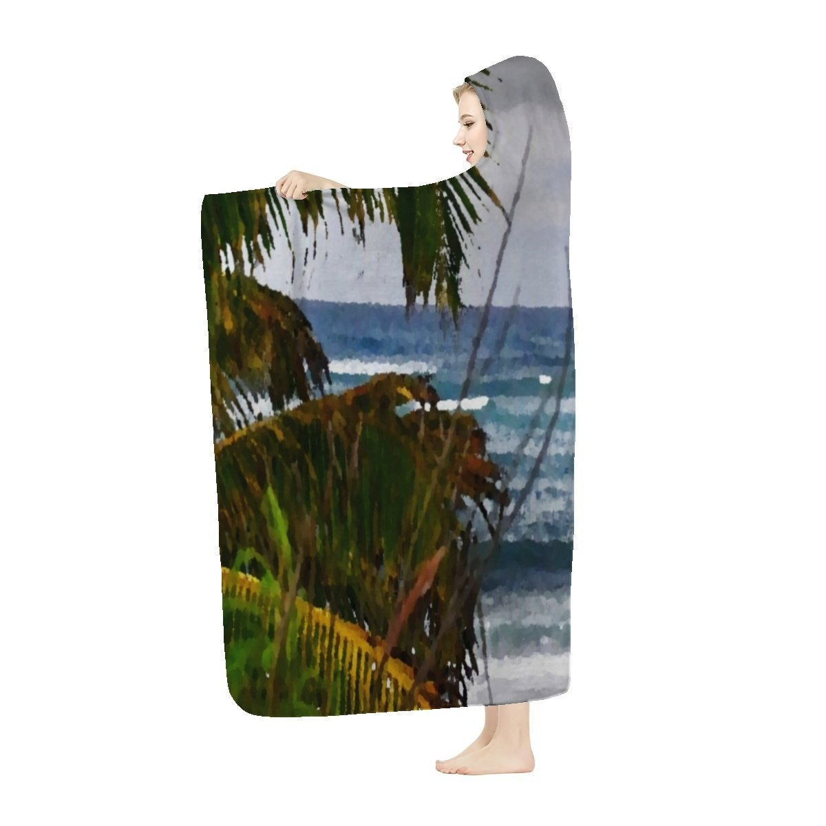 Hooded Blanket - Awesome tropical beach Hau Isabela Puerto Rico - Yunque Store
