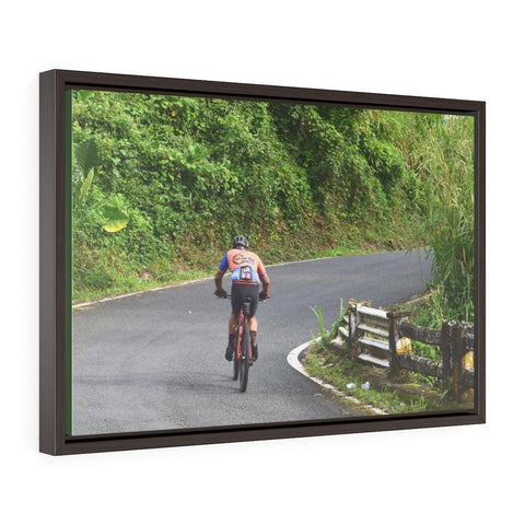 Horizontal Framed Premium Gallery Wrap Canvas - Brave cyclist go up 1,500 feet to Rio sabana park - El Yunque rainforest PR Canvas Printify