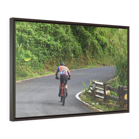 Image of Horizontal Framed Premium Gallery Wrap Canvas - Brave cyclist go up 1,500 feet to Rio sabana park - El Yunque rainforest PR Canvas Printify
