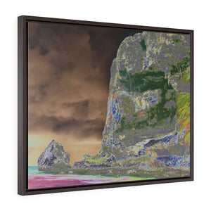 Horizontal Framed Premium Gallery Wrap Canvas -- Remote & Pristine Mona Island near Puerto Rico - EDGE of Pajaros beach with cave - color curves manually modified for special effects - US PRINT - Yunque Store