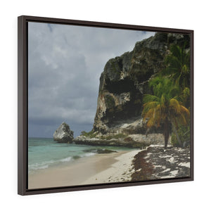 Horizontal Framed Premium Gallery Wrap Canvas -- Remote & Pristine Mona Island near Puerto Rico - EDGE of Pajaros beach with cave - Nikon Camera - US PRINT - Yunque Store