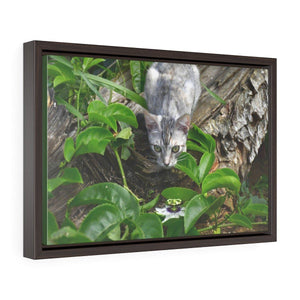 Horizontal Framed Premium Gallery Wrap Canvas - The cat Mimi in the backyard in fron of a Passionflower (parcha) on a large Mahogany tree topled by Maria - Isabela PR Canvas Printify