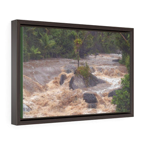 Horizontal Framed Premium Gallery Wrap Canvas - The Rio Sabana river and park in a flood - El Yunque rainforest PR - No7 Canvas Printify