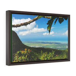 Horizontal Framed Premium Gallery Wrap Canvas - View of El Yunque before Maria - historic view at 3,175 feet from Tres Picachos Canvas Printify