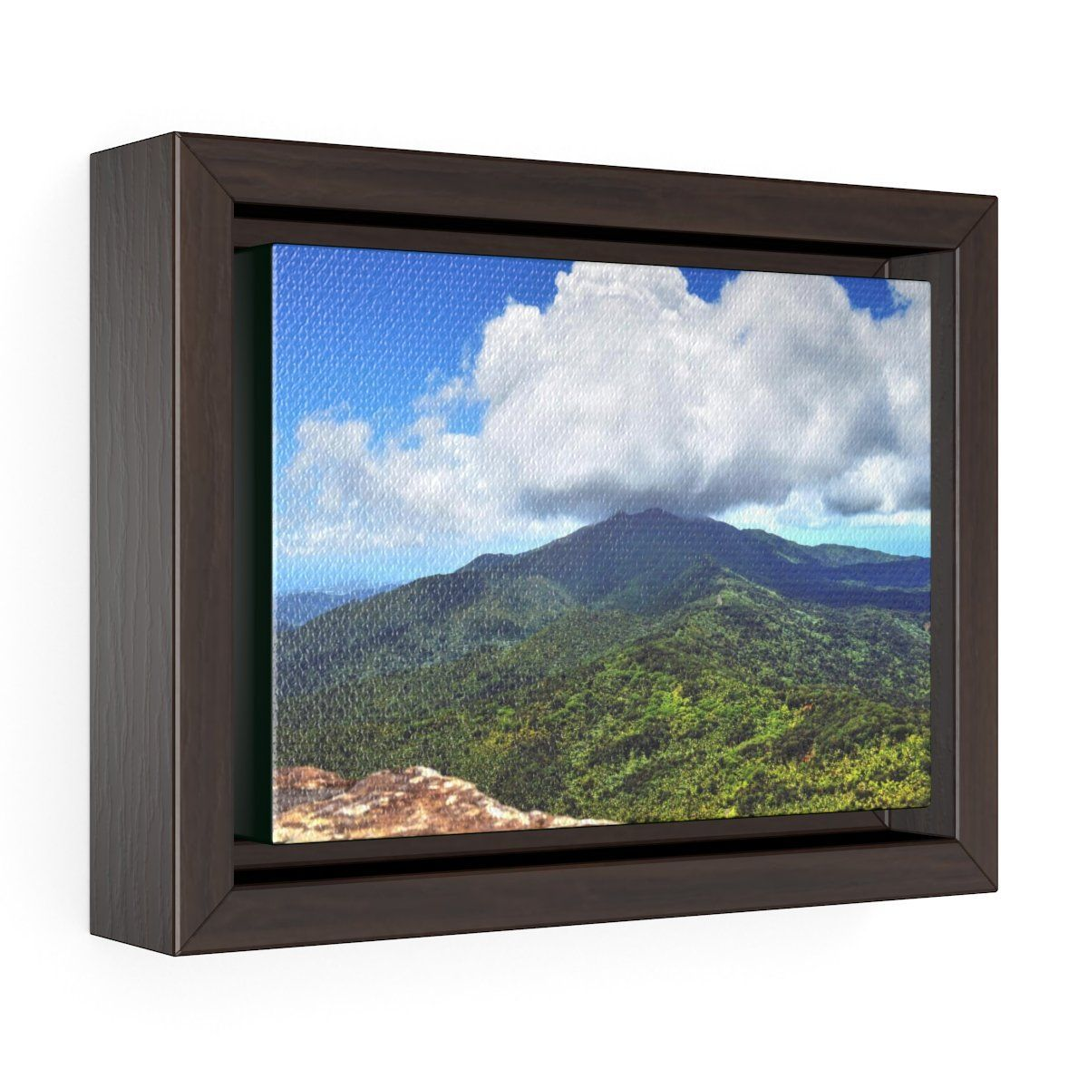 Horizontal Framed Premium Gallery Wrap Canvas - Views from El Yunque rainforest in Puerto Rico - awesome view from Mt Britton Canvas Printify