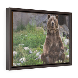 Horizontal Framed Premium Gallery Wrap Canvas 👉 YELLOWSTONE PARK - Grizzly Bear - NPS USA Wyoming 💘 A LIFE CHANGING EVENT - Yunque Store