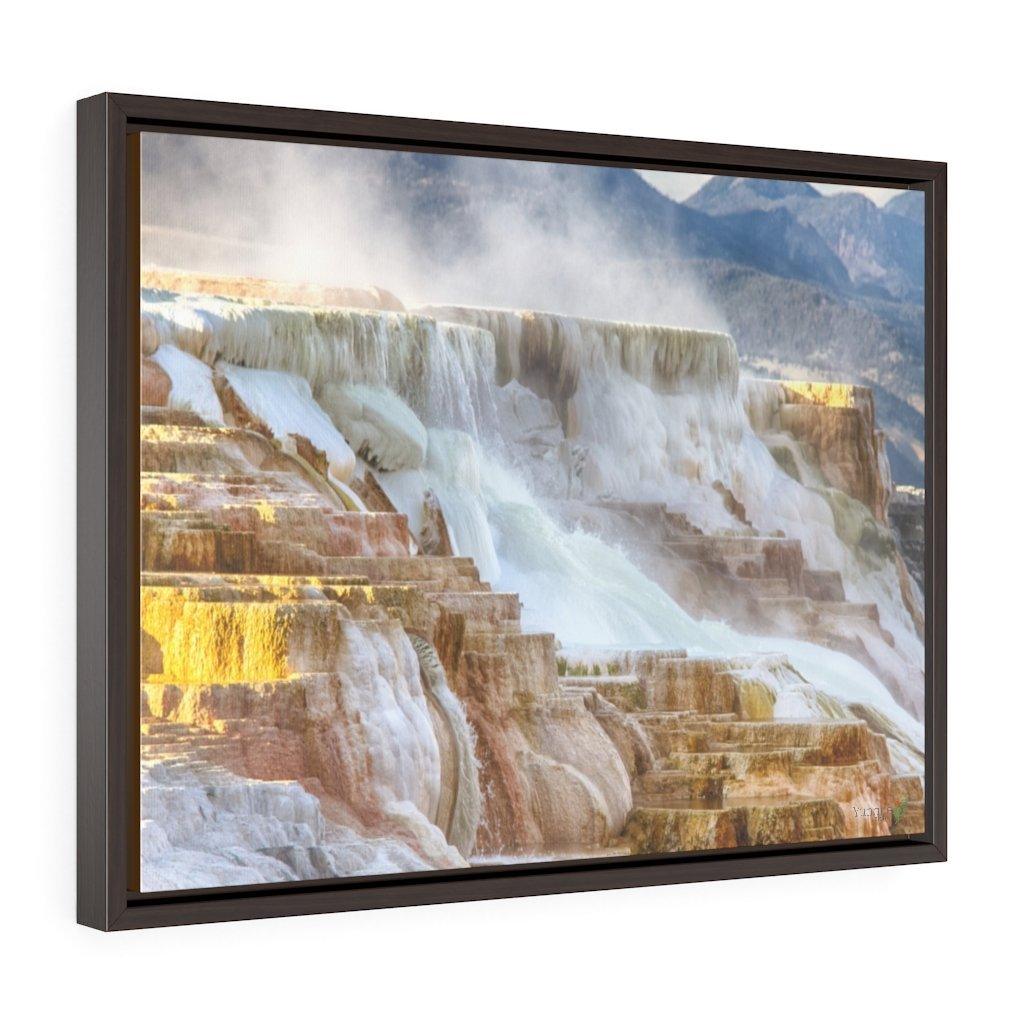 Horizontal Framed Premium Gallery Wrap Canvas 👉 YELLOWSTONE PARK Hot Springs - NPS USA Wyoming 💘 A LIFE CHANGING EVENT - Yunque Store