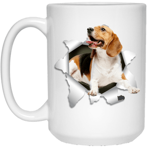 I LOVE 💘 Pets Series - Amazing Dog Art Mugs - Remember them with every cup of Coffee 🐕😎🐕 - ideal GIFT 🎁 For Him or Her 🥰 - BEAGLE 3D 15 oz. White Mug - Yunque Store