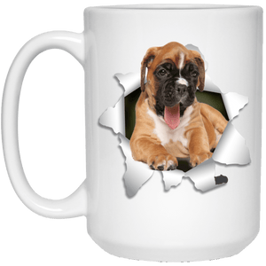 I LOVE 💘 Pets Series - Amazing Dog Art Mugs - Remember them with every cup of Coffee 🐕😎🐕 - ideal GIFT 🎁 For Him or Her 🥰 - BOXER 3D 15 oz. White Mug - Yunque Store