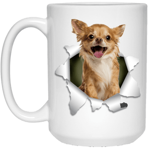 I LOVE 💘 Pets Series - Amazing Dog Art Mugs - Remember them with every cup of Coffee 🐕😎🐕 - ideal GIFT 🎁 For Him or Her 🥰 - CHIHUAHUA 3D 15 oz. White Mug - Yunque Store