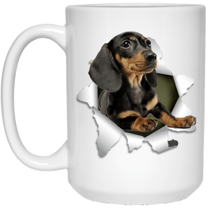 I LOVE 💘 Pets Series - Amazing Dog Art Mugs - Remember them with every cup of Coffee 🐕😎🐕 - ideal GIFT 🎁 For Him or Her 🥰 - DACHSHUND 3D 15 oz. White Mug - Yunque Store