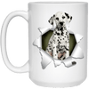 I LOVE 💘 Pets Series - Amazing Dog Art Mugs - Remember them with every cup of Coffee 🐕😎🐕 - ideal GIFT 🎁 For Him or Her 🥰 - DALMATIAN 3D 15 oz. White Mug - Yunque Store