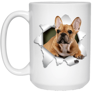 I LOVE 💘 Pets Series - Amazing Dog Art Mugs - Remember them with every cup of Coffee 🐕😎🐕 - ideal GIFT 🎁 For Him or Her 🥰 - FRENCH BULLDOG 3D 15 oz. White Mug - Yunque Store