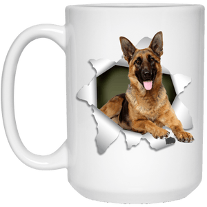 I LOVE 💘 Pets Series - Amazing Dog Art Mugs - Remember them with every cup of Coffee 🐕😎🐕 - ideal GIFT 🎁 For Him or Her 🥰 - GERMAN SHEPARD 3D 15 oz. White Mug - Yunque Store
