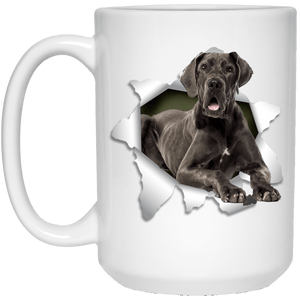 I LOVE 💘 Pets Series - Amazing Dog Art Mugs - Remember them with every cup of Coffee 🐕😎🐕 - ideal GIFT 🎁 For Him or Her 🥰 - GREAT DANE 3D 15 oz. White Mug - Yunque Store