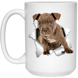 I LOVE 💘 Pets Series - Amazing Dog Art Mugs - Remember them with every cup of Coffee 🐕😎🐕 - ideal GIFT 🎁 For Him or Her 🥰 - PITBULL 3D 15 oz. White Mug - Yunque Store