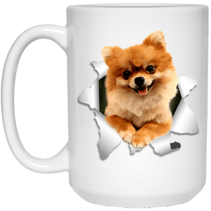 I LOVE 💘 Pets Series - Amazing Dog Art Mugs - Remember them with every cup of Coffee 🐕😎🐕 - ideal GIFT 🎁 For Him or Her 🥰 - POMERANIAN 3D 15 oz. White Mug - Yunque Store