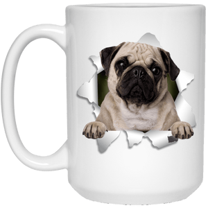 I LOVE 💘 Pets Series - Amazing Dog Art Mugs - Remember them with every cup of Coffee 🐕😎🐕 - ideal GIFT 🎁 For Him or Her 🥰 - PUG 3D 15 oz. White Mug - Yunque Store