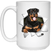 I LOVE 💘 Pets Series - Amazing Dog Art Mugs - Remember them with every cup of Coffee 🐕😎🐕 - ideal GIFT 🎁 For Him or Her 🥰 - ROTTWEILER 3D 15 oz. White Mug - Yunque Store