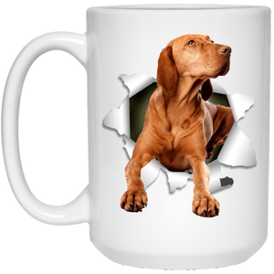 I LOVE 💘 Pets Series - Amazing Dog Art Mugs - Remember them with every cup of Coffee 🐕😎🐕 - ideal GIFT 🎁 For Him or Her 🥰 - VIZSLA 3D 15 oz. White Mug - Yunque Store