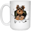 I LOVE 💘 Pets Series - Amazing Dog Art Mugs - Remember them with every cup of Coffee 🐕😎🐕 - ideal GIFT 🎁 For Him or Her 🥰 - YORKSHIRE TERRIER 3D 15 oz. White Mug - Yunque Store
