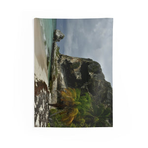 Indoor Wall Tapestries ON THE BEACH! - US MADE - Remote & Pristine Mona Island near Puerto Rico - Pajaros beach edge - great beach reminders... - Yunque Store