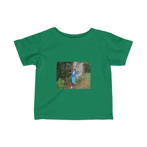 Infant Fine Jersey Tee - Jose in large tree and La Mina falls - El Yunque rain forest PR Kids clothes Printify