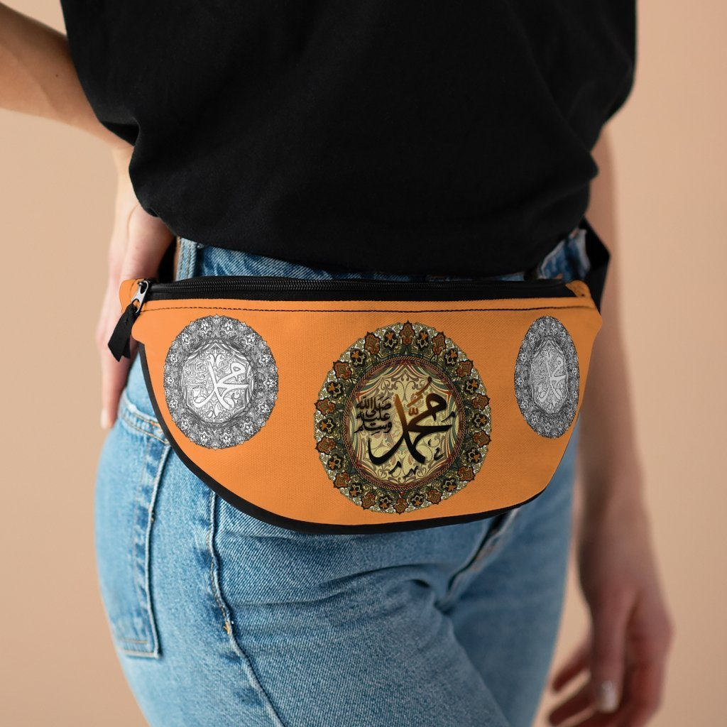 Islam Fanny Pack - with Organizer and Lightweight - The Holy name of Muhammad in Arabic calligraphy. Sufis believe the name of Muhammad is holy and sacred. - Yunque Store