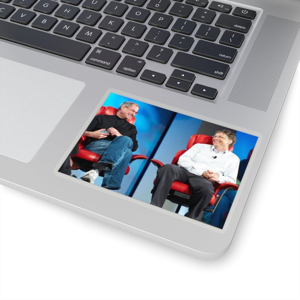 Kiss-Cut Stickers - Steve Jobs and Bill Gates meet in tech conference in 2007 Paper products Printify