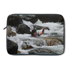 Laptop Sleeve - Gaby on the powerful Mameyes river - in El Yunque PR Laptop Sleeve Printify