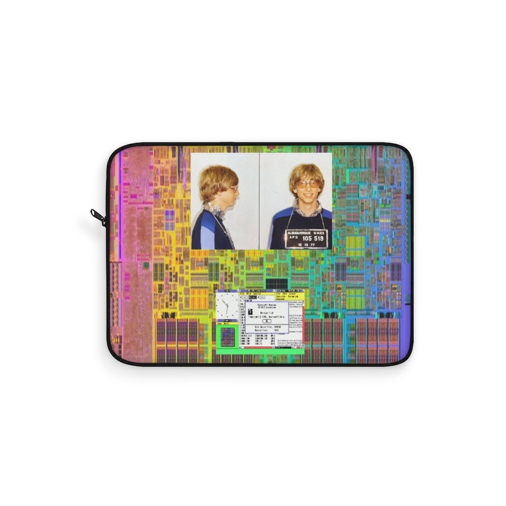 Laptop Sleeve - Historic - Mug shot of Bill Gates for speeding in NM and windows 3.1 and Intel I7 design - Yunque Store