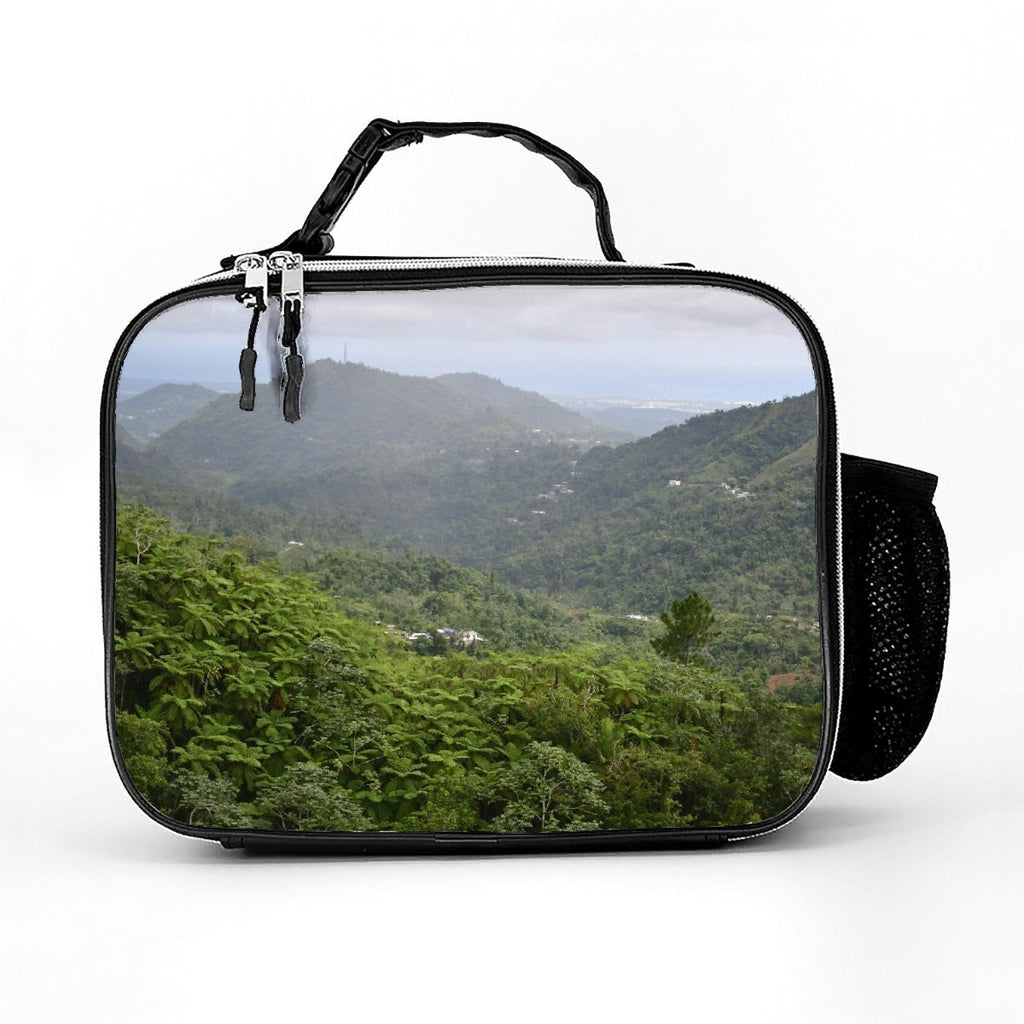 Leather Meal Bag - High Mountain Awesome View - Toro Negro rainforest Park Over 4,000 feet altitude - Highest in Puerto Rico - Yunque Store