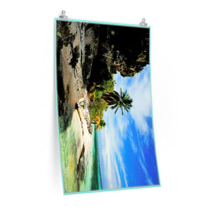 Low cost quality Posters - Pristine and remote - Pajaros Beach edge/caves in Mona Island PR Poster Printify