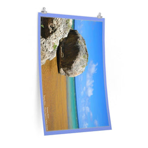 Low cost quality Posters - Pristine and remote - Pajaros Beach sea boulders - in Mona Island PR Poster Printify