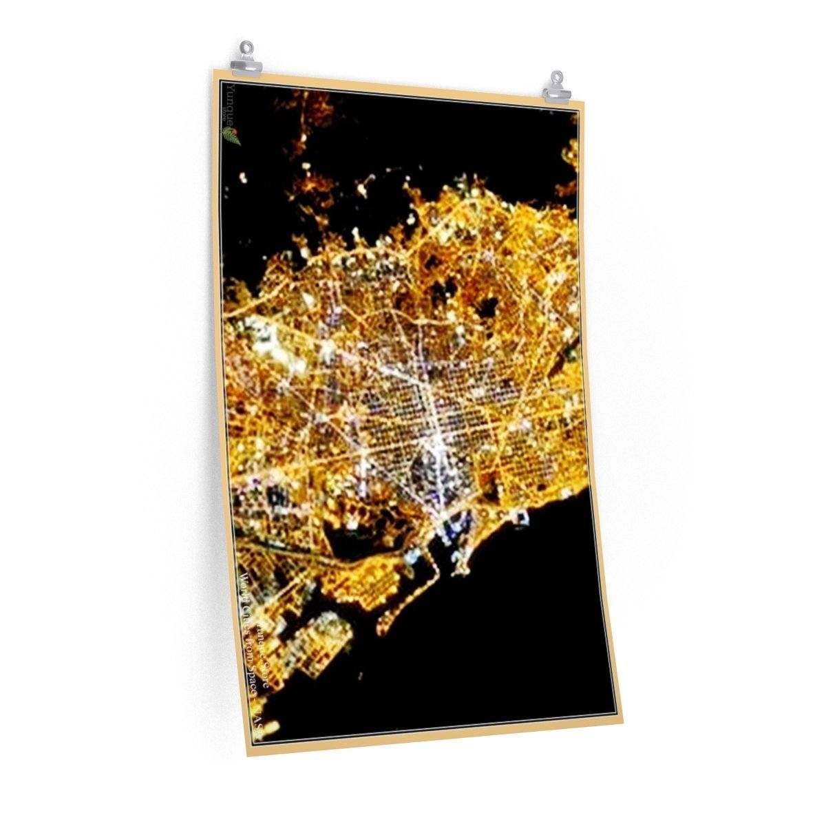 Low cost quality Posters - World Cities from Space - NASA - Barcelona - Spain Poster Printify