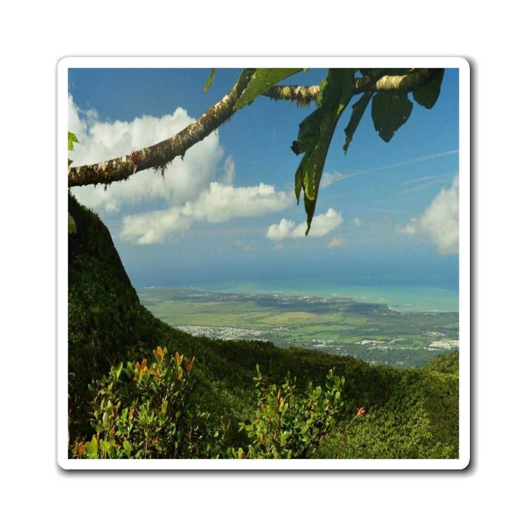 Magnets - Awesome view from 3,175 feet at the Puerto Rico forest and coastline - El Yunque rainforest PR Paper products Printify
