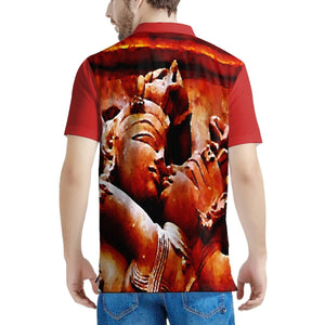Men's All Over Print Polo Shirt - Passionate art from Ancient India's Tantrik Temple 💘😎💘 - Yunque Store