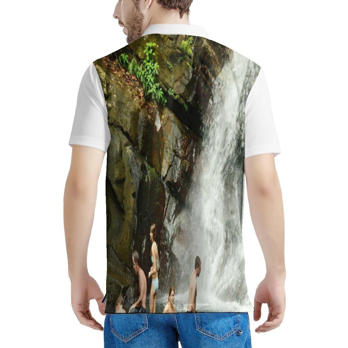Men's All Over Print Polo Shirt - The awesome La Mina 🌊 falls in El Yunque Rainforest 🌿🌴🌿 Puerto Rico - before hurricane Maria - Yunque Store