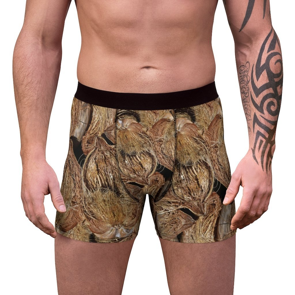 Men's Boxer Briefs - Mona Island dry coconuts and awesome sunset in back - Yunque Store