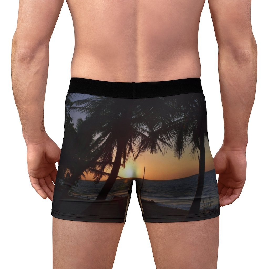 Men's Boxer Briefs - Mona Island tree branches and an awesome sunset in back - Yunque Store