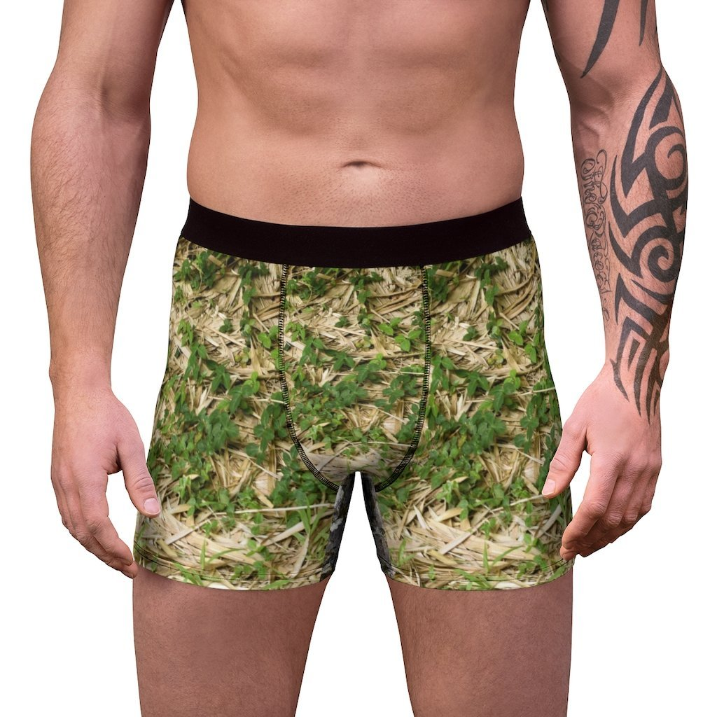 Men's Boxer Briefs - Rio Sabana bamboo leafs textures and river on back - Yunque Store