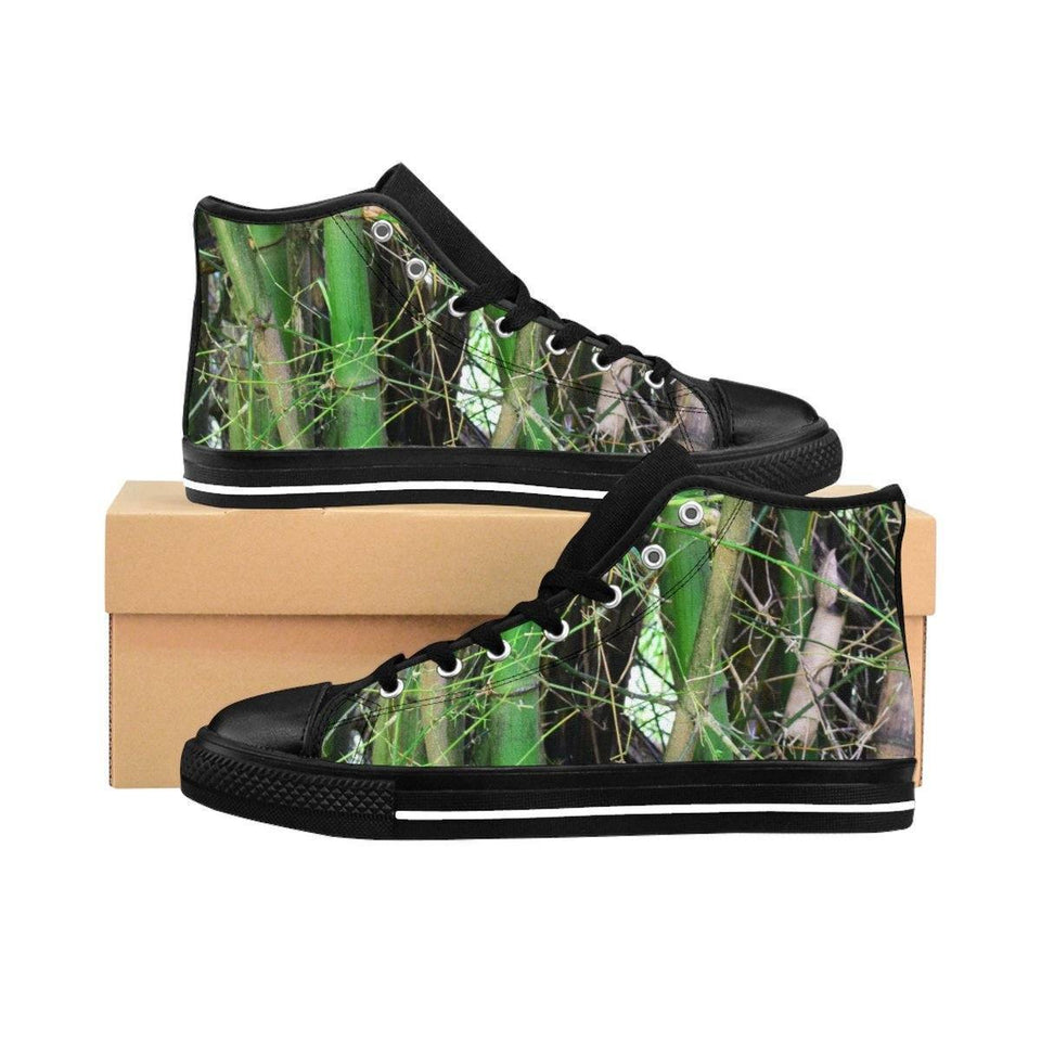 Men's High-top Sneakers - Bamboo trunks and leaves in the forest - Rio Sabana El Yunque rain forest PR Shoes Printify