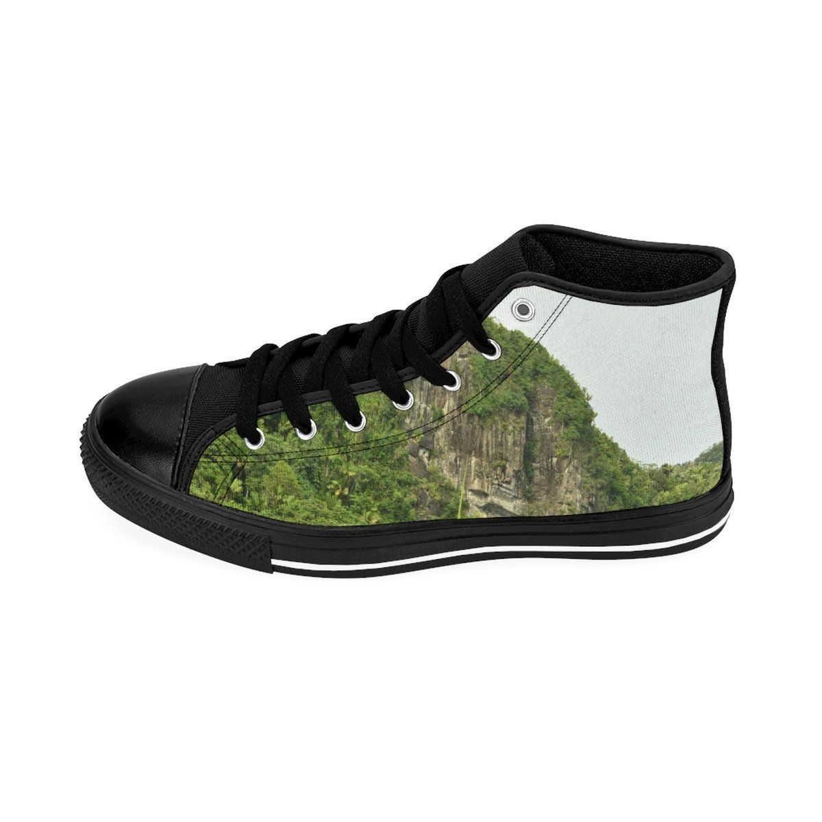 Men's High-top Sneakers - View from Yokahu tower and Mt Britton tower - El Yunque rain forest PR Shoes Printify